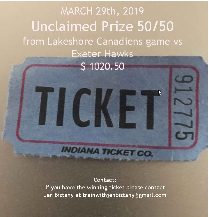 Unclaimed 50/50 Prize - March 29th, 2019  $ 1020.50