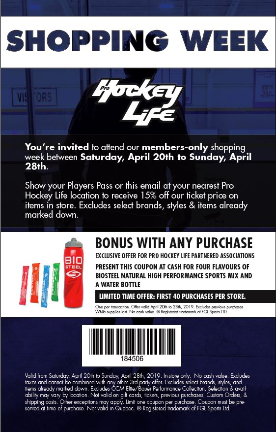 April 20th through April 28th Pro hockey Life Shopping Week